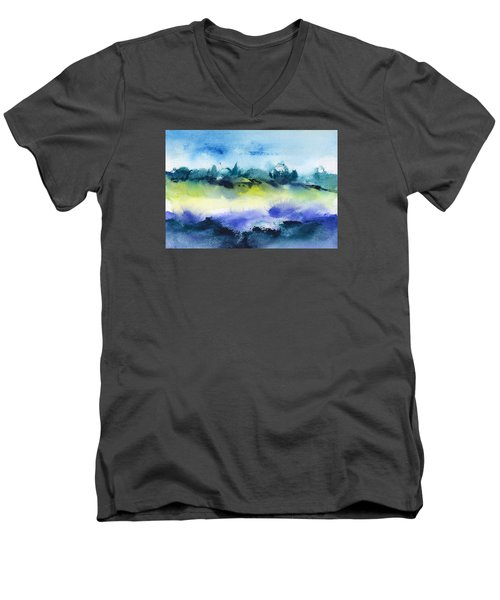 Beach Hut Abstract Men's V-Neck T-Shirt by Frank Bright