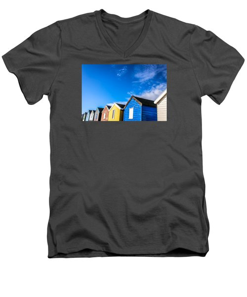 Beach Huts In The Sunlight Men's V-Neck T-Shirt by David Warrington