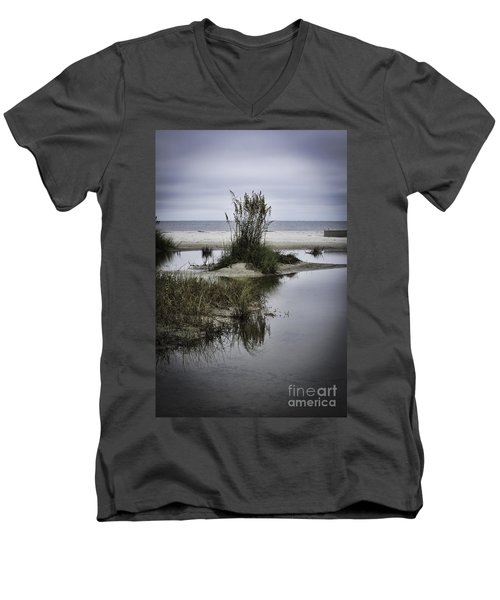 Men's V-Neck T-Shirt featuring the photograph Beach Island by Judy Wolinsky