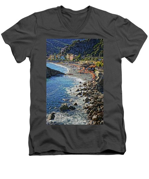 Beach Monterosso Italy Dsc02467 Men's V-Neck T-Shirt by Greg Kluempers