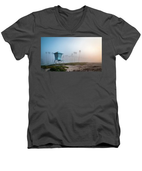 Men's V-Neck T-Shirt featuring the photograph Beach Office by Sean Foster