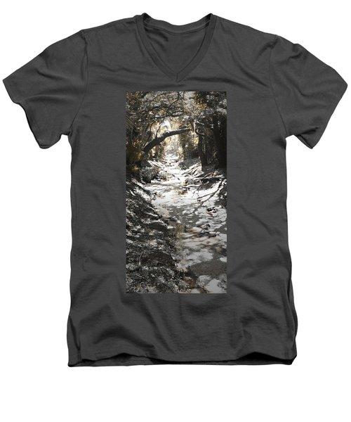 Men's V-Neck T-Shirt featuring the photograph  Beach Park Storm Drain by Steve Sperry