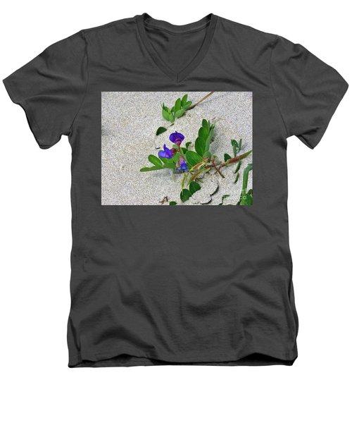 Beach Pea Vine Men's V-Neck T-Shirt by Michele Penner