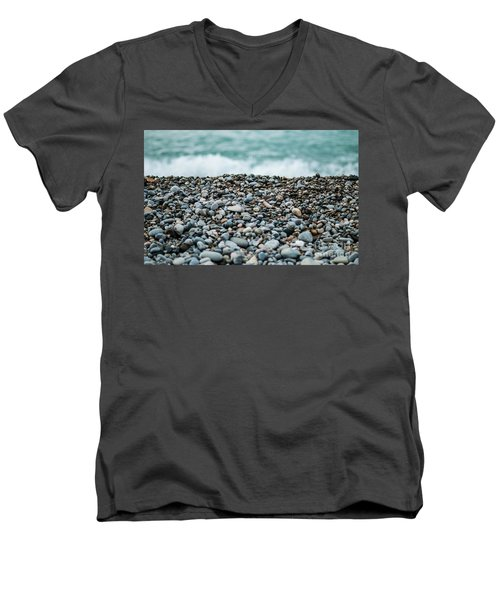 Men's V-Neck T-Shirt featuring the photograph Beach Pebbles by MGL Meiklejohn Graphics Licensing
