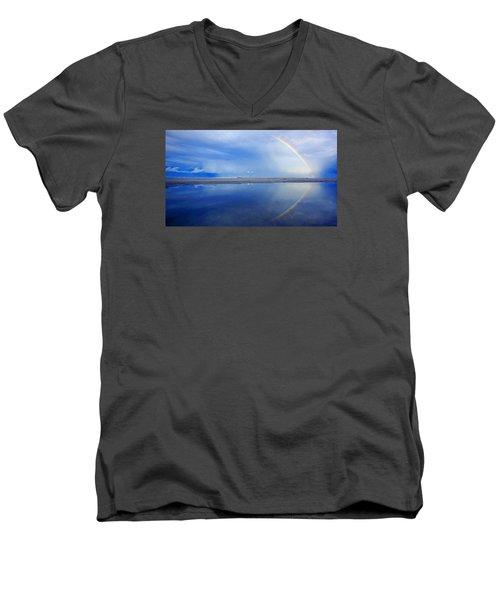 Beach Rainbow Reflection Men's V-Neck T-Shirt