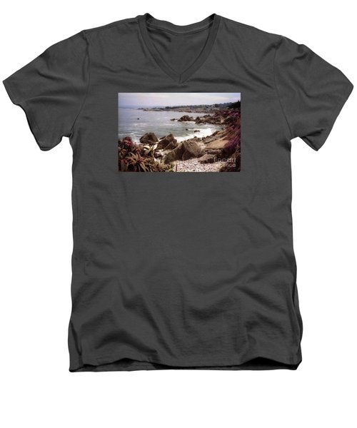 Beach Rock Ocean Waves Men's V-Neck T-Shirt