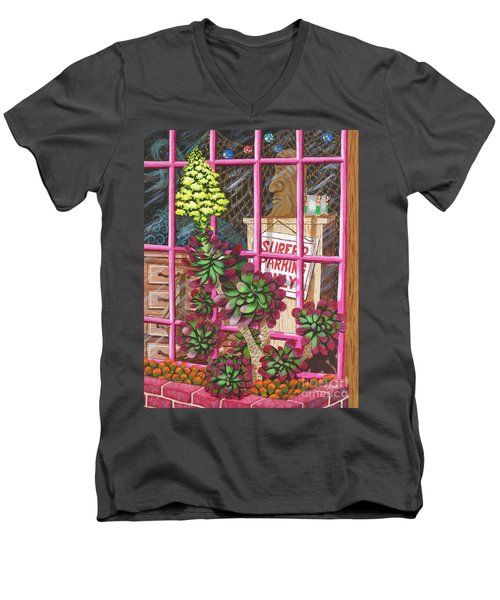 Men's V-Neck T-Shirt featuring the painting Beach Side Storefront Window by Katherine Young-Beck