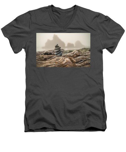 Men's V-Neck T-Shirt featuring the photograph Beach Stack by Kristopher Schoenleber