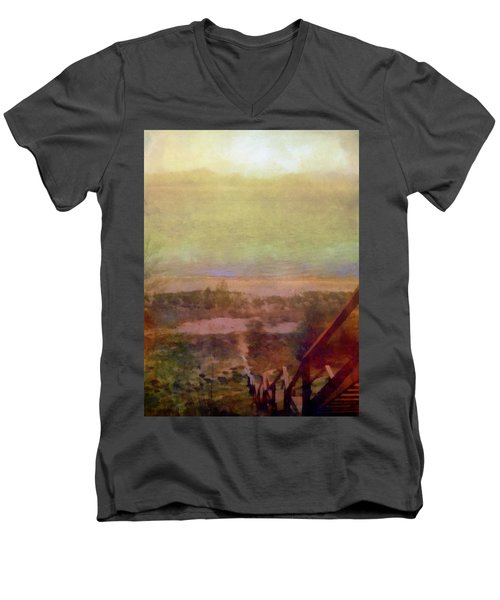 Men's V-Neck T-Shirt featuring the digital art Beach Stairs With Hazy Sky by Michelle Calkins