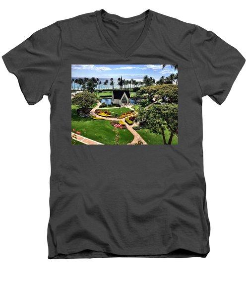 Beach Steeple Men's V-Neck T-Shirt by Michael Albright