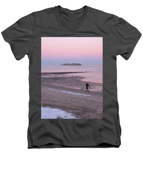 Beach Stroll Men's V-Neck T-Shirt by John Scates