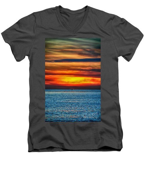 Men's V-Neck T-Shirt featuring the photograph Beach Sunset And Boat by Mariola Bitner