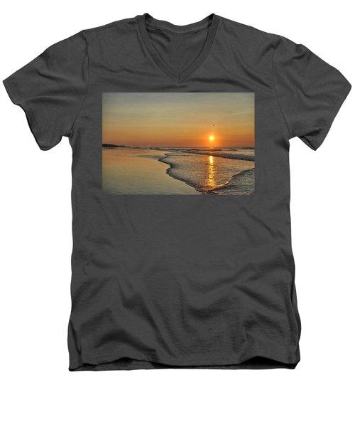 Topsail Nc Beach Sunrise Men's V-Neck T-Shirt
