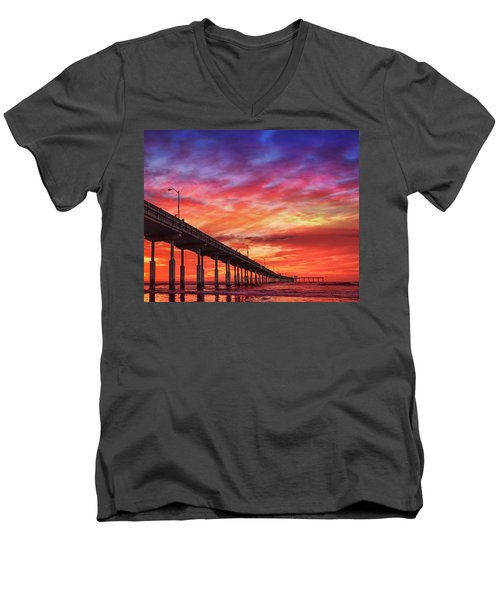 Beach Sunset Ocean Wall Art San Diego Artwork Men's V-Neck T-Shirt