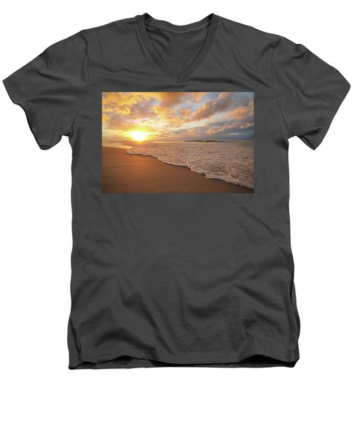 Beach Sunset With Golden Clouds Men's V-Neck T-Shirt