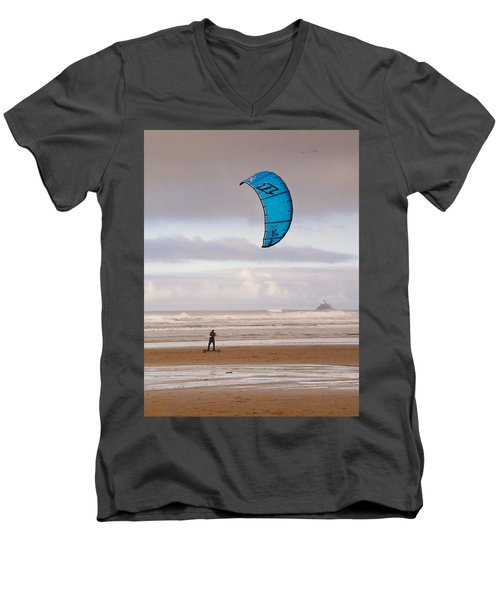 Beach Surfer Men's V-Neck T-Shirt by Wendy McKennon