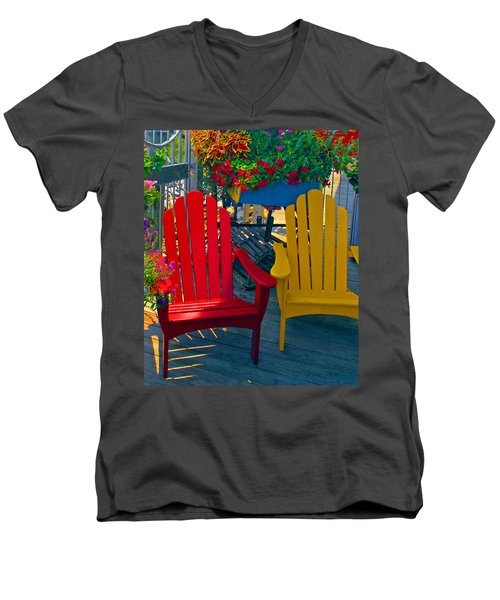 Beach Town Charm Men's V-Neck T-Shirt by Marie Hicks