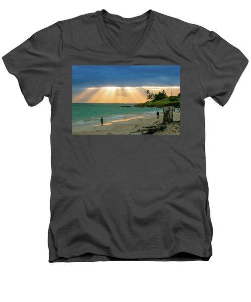 Beach Walk At Sunrise Men's V-Neck T-Shirt by E Faithe Lester