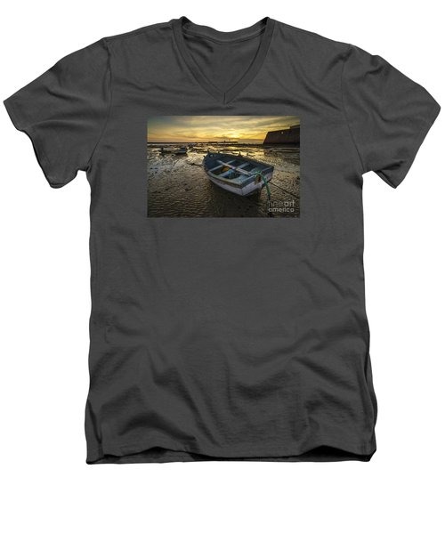 Beached Boat On La Caleta Cadiz Spain Men's V-Neck T-Shirt