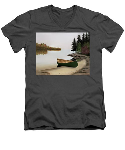 Beached Canoe In Muskoka Men's V-Neck T-Shirt by Kenneth M  Kirsch