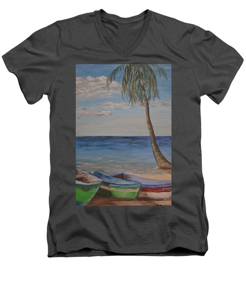 Men's V-Neck T-Shirt featuring the painting Beached by Debbie Baker