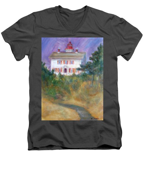 Beacon On The Hill - Lighthouse Painting Men's V-Neck T-Shirt