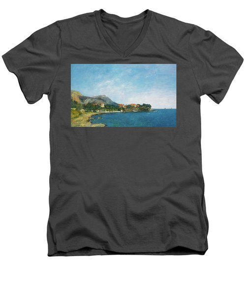 Men's V-Neck T-Shirt featuring the painting Bealieu - The Bay Of Fourmis by Eugene Boudin