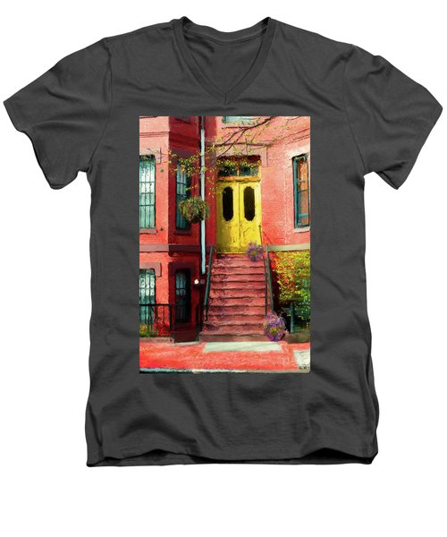 Beantown Brownstone With Yellow Doors Men's V-Neck T-Shirt
