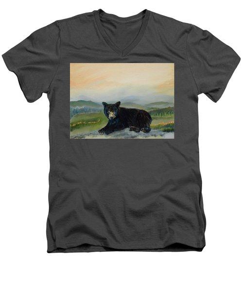 Bear Alone On Blue Ridge Mountain Men's V-Neck T-Shirt