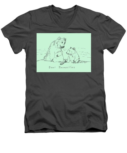 Men's V-Neck T-Shirt featuring the drawing Bear Necessities by Denise Fulmer