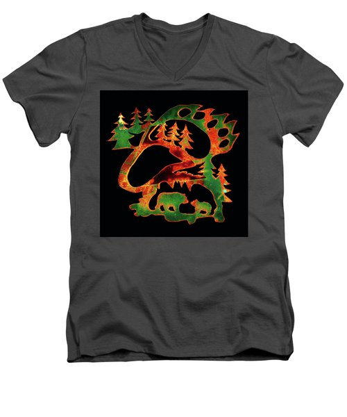 Emerald Bear Paw  Men's V-Neck T-Shirt by Larry Campbell