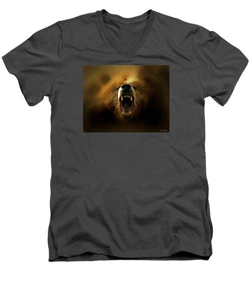 Bear Roar Men's V-Neck T-Shirt by Lilia D