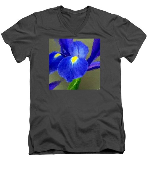 Bearded Iris Men's V-Neck T-Shirt by Anthony Fishburne