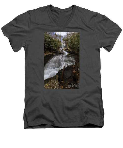 Bearden Falls Vertical Men's V-Neck T-Shirt by Barbara Bowen