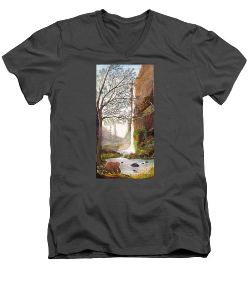 Men's V-Neck T-Shirt featuring the painting Bears At Waterfall by Myrna Walsh