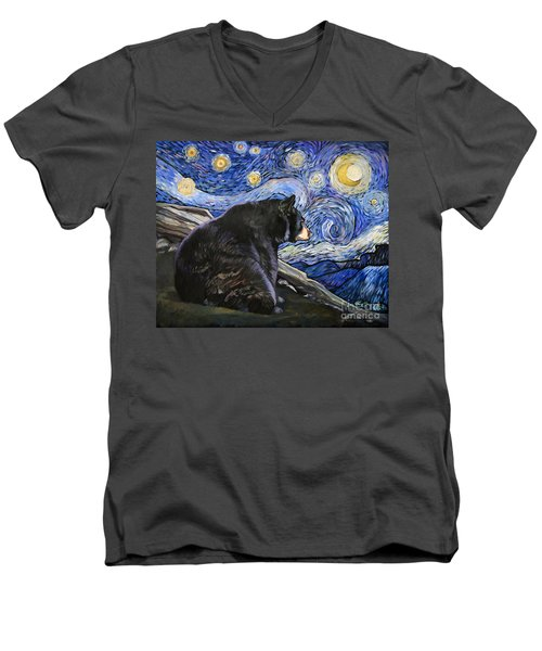 Beary Starry Nights Men's V-Neck T-Shirt by J W Baker