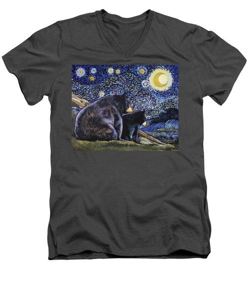 Beary Starry Nights Too Men's V-Neck T-Shirt