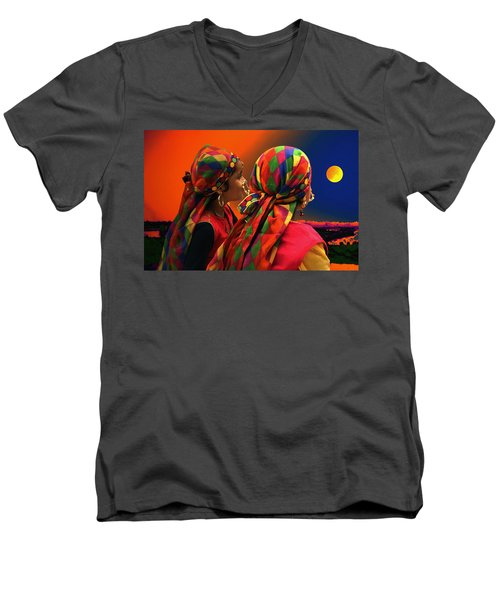 Men's V-Neck T-Shirt featuring the digital art Beatitude by Bliss Of Art