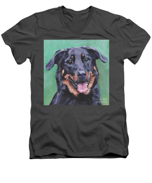 Men's V-Neck T-Shirt featuring the painting Beauceron Portrait by Lee Ann Shepard