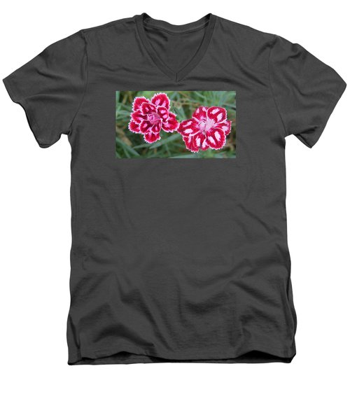 Men's V-Neck T-Shirt featuring the photograph Beauties In My Garden by Jeanette Oberholtzer