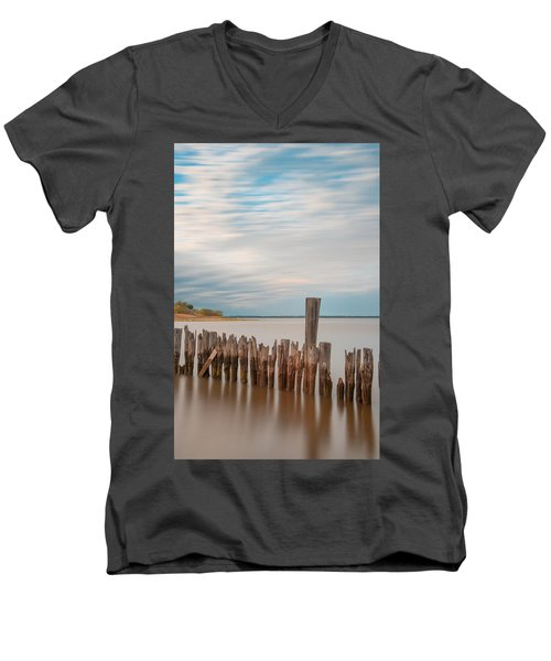 Men's V-Neck T-Shirt featuring the photograph Beautiful Aging Pilings In Keyport by Gary Slawsky