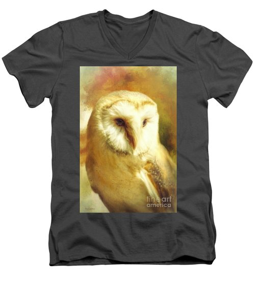 Beautiful Barn Owl Men's V-Neck T-Shirt by Tina LeCour