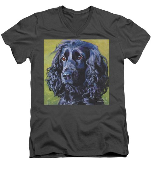 Men's V-Neck T-Shirt featuring the painting Beautiful Black English Cocker Spaniel by Lee Ann Shepard