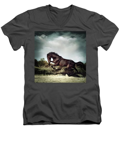 Beautiful Black Stallion Horse Running On The Stormy Sky Men's V-Neck T-Shirt