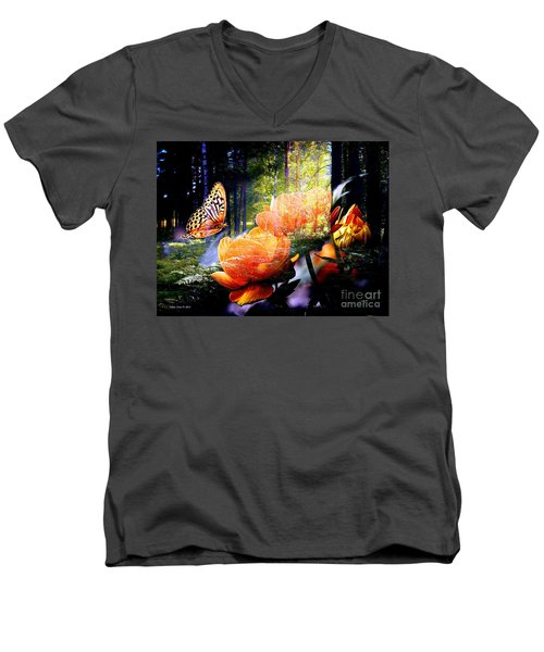 Beautiful Butterfly And Flowers In Forest Men's V-Neck T-Shirt by Annie Zeno