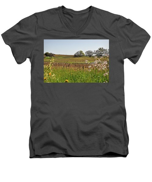 Beautiful California Vineyard Framed With Flowers Men's V-Neck T-Shirt