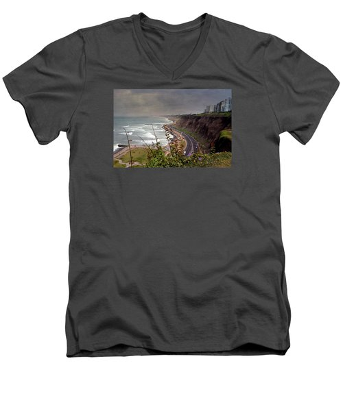 Beautiful Coastline Of Lima Men's V-Neck T-Shirt