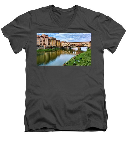 Ponte Vecchio On A Spring Day In Florence, Italy Men's V-Neck T-Shirt