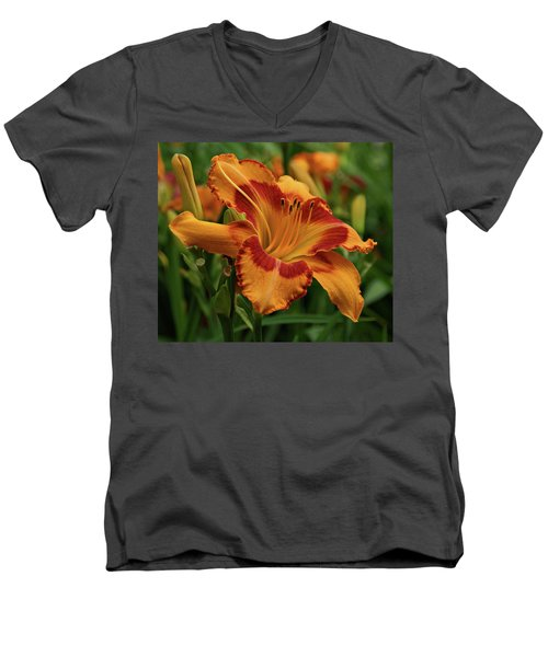 Men's V-Neck T-Shirt featuring the photograph Beautiful Daylily by Sandy Keeton