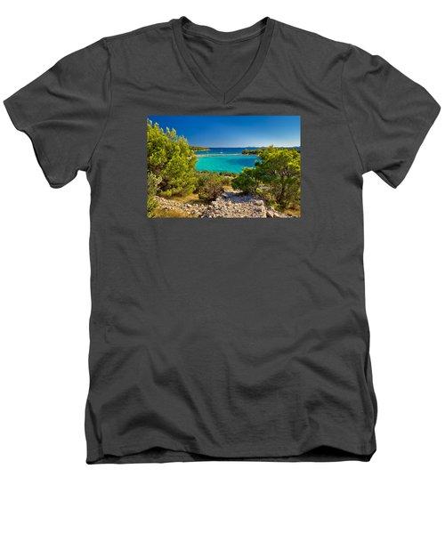 Beautiful Emerald Beach On Murter Island Men's V-Neck T-Shirt by Brch Photography